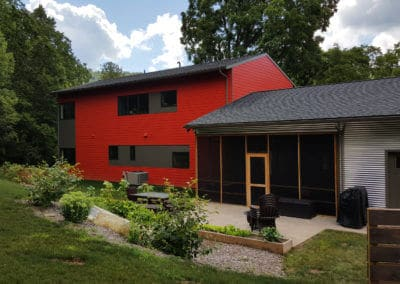 Bright Red siding exterior home design in State College, PA