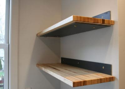 Custom Raw Edge wood shelving in State College Borough