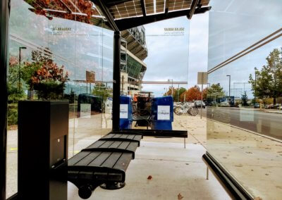 Inside of PSU BEaver Stadium CATA Solar Bus Stop